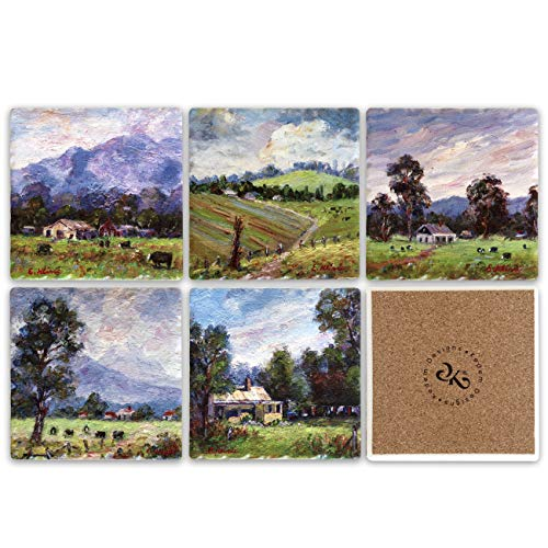 Farmland Ceramic Tile Coaster for Drinks Set of 6, 4 x 4 inches - Square Table Coasters for Drinks with Cork Backing, Stain Resistant, Sweat Proof, Decorative Drink - Inch Square Coasters 4 Ceramic