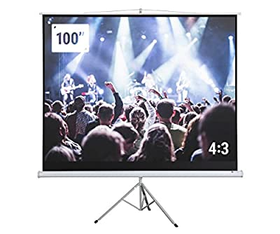 "Homegear 100"" Portable Projector Screen, 100 inch Diagonal Projection HD 4:3 Projection Pull Up Foldable Stand Tripod"