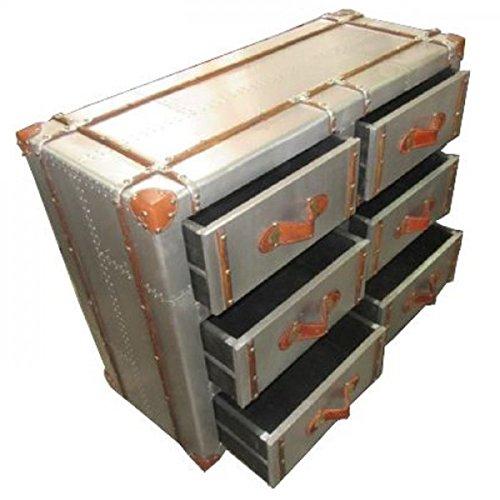 casa padrino art deco vintage koffer schubladen schrank kommode aluminium leder vintage look. Black Bedroom Furniture Sets. Home Design Ideas