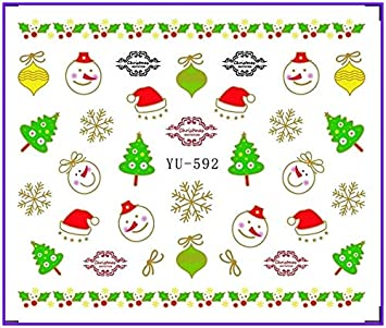 Nail Sticker Perfume Bottle Bow Tie Christmas Xmas Water Transfers Stickers Nail Decals Stickers Water Yu585-596 Stickers & Decals Beauty & Health