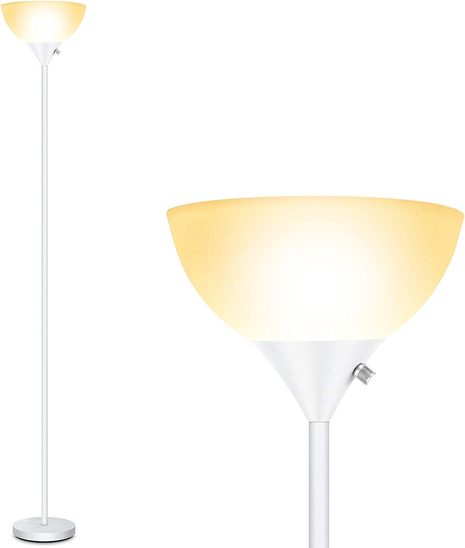 Floor Lamp - Standing Lamp, 9W LED Floor Lamp, Energy Saving & 50,000hrs Long Lifespan, 3000K Warm White, Eye-Caring, Torchiere Floor Lamps for Living Room, Bedroom, Office, Reading, White Floor Lamps