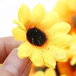 IETONE 100 Pieces Artificial Gerbera Daisy Flowers Heads for DIY Wreath Gift Box Scrapbooking Craft Wedding Party (Yellow Sunflower) 6