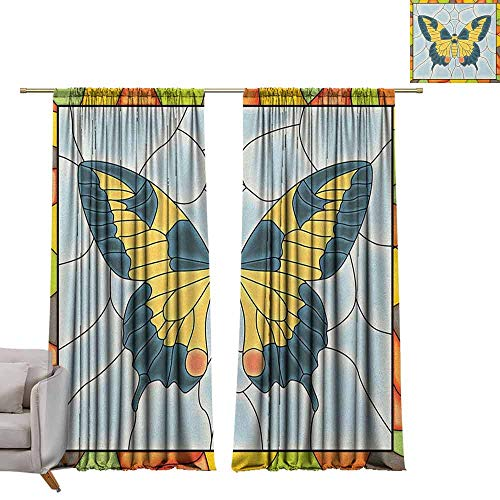 - berrly Customized Curtains Butterflies,Butterfly in Stained-Glass Window with Frame Wing Spring Garden Illustration, Multicolor W84 x L108 Waterproof Window Curtain