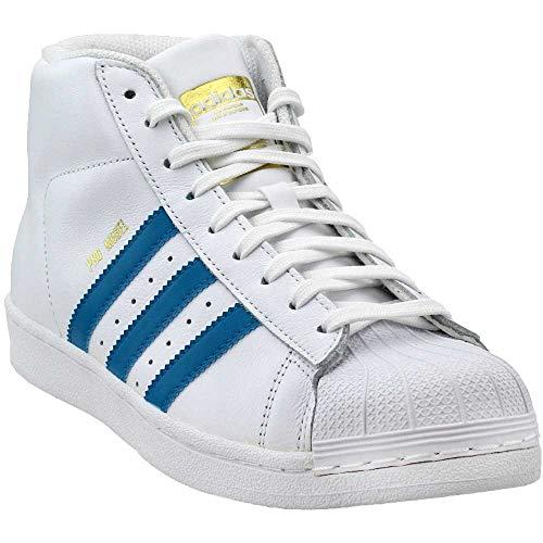 adidas Originals Boys' PRO Model J Running Shoe, White/Mystery Petrol/Metallic Gold, 6.5 Medium US Big Kid