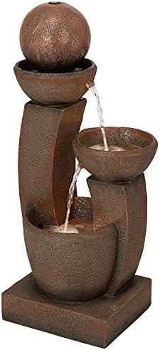 John Timberland Modern Curved Columns Zen Outdoor Floor Water Fountain