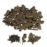 BQLZR Chinese Old Lock Latch Butterfly Buckle Clasp With Lucky Lock / Key For Vintage Cabinet Jewelry Box Pack of 30
