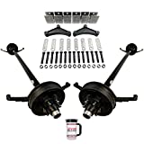 "Tandem 5,200 lb Trailer Brake Axles - Running Gear Set w/Hanger Kit (95"" Hubface, 80"" Spring Center) 6 Lug 5.5"" Bolt Pattern"