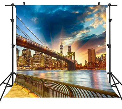 ST 6X6FT Sunset Sunrise View Landmark Building Photography Backdrop New York City Brooklyn Bridge Background for Family Party Backdrop or YOUTUBE Background Props ST660230