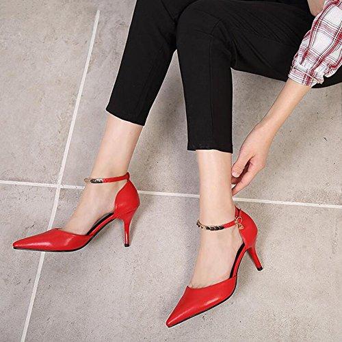 Tacco Centimetri Banchetto Partito Nozze Sera Alti Di Da Tacchi A Pompa Nove Punta Nightclub Donna Dell'inarcamento Scarpe Rosso Sandali FfAqfz