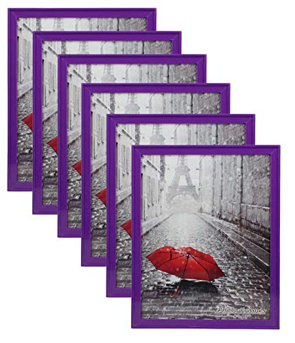 "PP Modern Collection Photo Frame Purple Plastic (8"" X 10"") (6pk) Stand Vertical Or Horizon Tabletop and Wall Mount Colourful Picture Frame"
