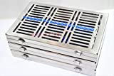 3 GERMAN DENTAL SURGICAL AUTOCLAVE STERILIZATION CASSETTES FOR 20 INSTRUMENTS BLUE ( CYNAMED )