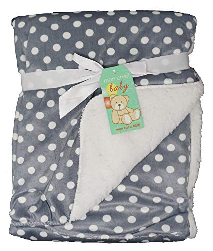 (Grey with White Polka Dots Infant and Christmas Baby Unisex Boy and Girl 2 Ply Plush Baby Blanket (Polka Dots))