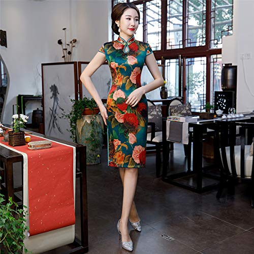 57ccafbdad Women's Dress Kimono Satin Spring Autumn Big Peony Print Cheongsam Chinese  Girl Cheongsam Dress Party Festival