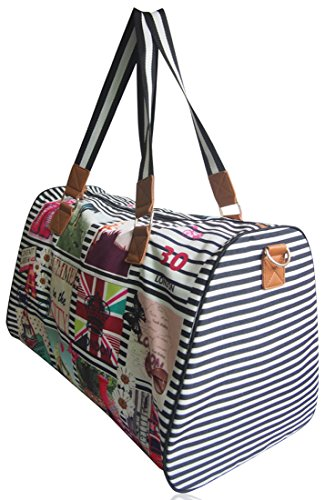 Ladies Print Shoulder Line Bag UKFS Holdall Hannah Fuchsia and Stripy London Girls Black Funky zxvn1qYA