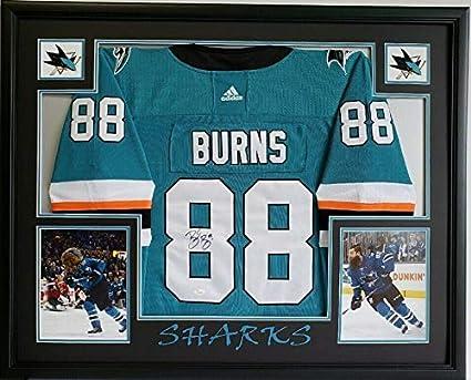 check out ec3d2 8013c Brent Burns Autographed Signed Sj Sharks Teal Jersey Framed ...