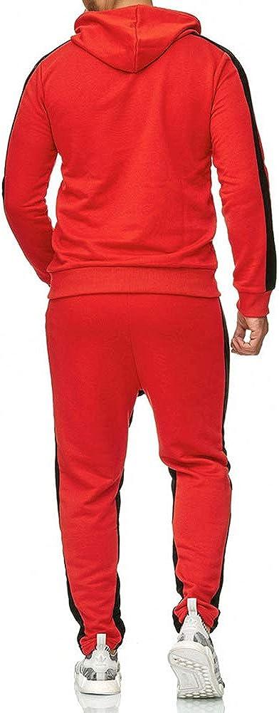 LeerKing Uomo Felpata Tuta Sportiva Termica con Cappuccio Rosso L