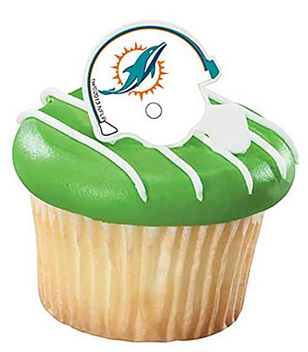 NFL Miami Dolphins Cupcake Helmet Rings 12 Count - Dolphin Cupcake Decorations