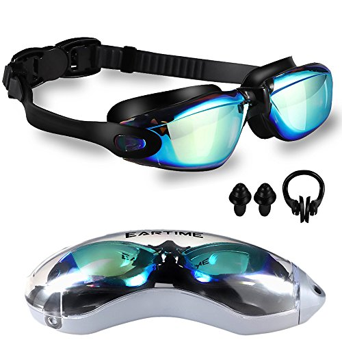 EARTIME Swimming Goggles, Swim Goggles for Adult Men Women Youth Anti Fog UV Protection No Leaking Swim Glasses with Case Protection & Nose Clip & Ear Plugs (Black02)