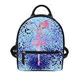 Cute Backpack For Women Blue Cartoon Ballet Girl Pattern Pu Leather Stylish Daypack Purse Bag