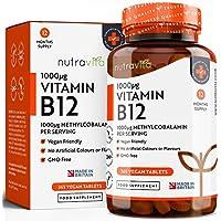 Vitamine B12 1000 µg   Cure de 12 mois   365 Comprimés Végans – Sans OGM   Formule Avancée Pour Usage Quotidien   Fabriqué au Royaume-Uni par Nutravita