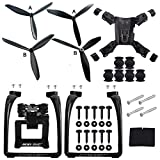 Propellers Props & Action Camera Frame & Lengthen Landing Gear Parts Set For Hubsan H501S H501C X4 RC Quadcopter Drone (Black)