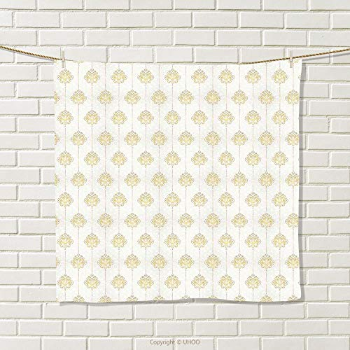 Swirl Border Dot (smallbeefly Vintage Hand Towel Ornamental Tracery Inspired Lines Swirl Curl Elements Vertical Borders with Dots Quick-Dry Towels Cream Gold Size: W 10