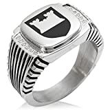 Two-Tone Stainless Steel Castle Protection Coat of Arms Shield Engraved Clear Cubic Zirconia Ribbed Needle Stripe Pattern Biker Style Polished Ring, Size 10