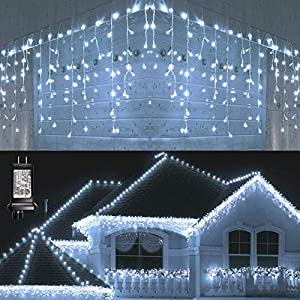 Lyhope Led Icicle Lights, 432 LED 35.4ft 8 Modes Low Voltage Icicle String Lights with 72 Drops, Window Curtain Fairy…