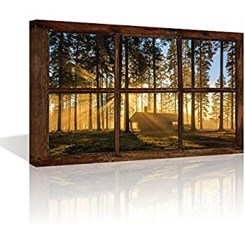 Kolo Wall Art Large Retro Vintage Fake Window Frame Sunshine Forest Painting Prints Framed and Stretched Picture Artwork for Living Room(Not Real Window Wooden Frame, Only Print on Canvas)