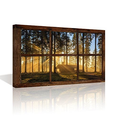 Vintage Picture Framed (Kolo Wall Art Large Retro Vintage Fake Window Frame Sunshine Forest Painting Prints Framed and Stretched Picture Artwork for Living Room(Not Real Window Wooden Frame, Only Print on Canvas))