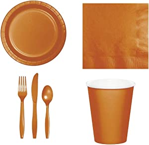 196 Pcs Pumpkin Spice Orange Disposable Party Supplies Set for 24 Guests | 6.7