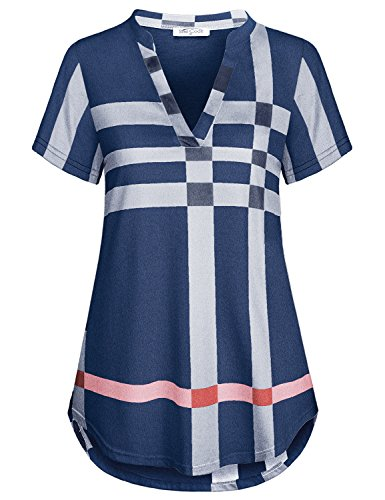 Misses Tops Sese Code Women Tartan Shirt Semi Formal Tunics Short Sleeve A Line Swing Hem Beautiful Plaid Breathable Springy Fabric Easy Fit Hide Tummy Relaxed Clothing Checked Blouse Blue X Large