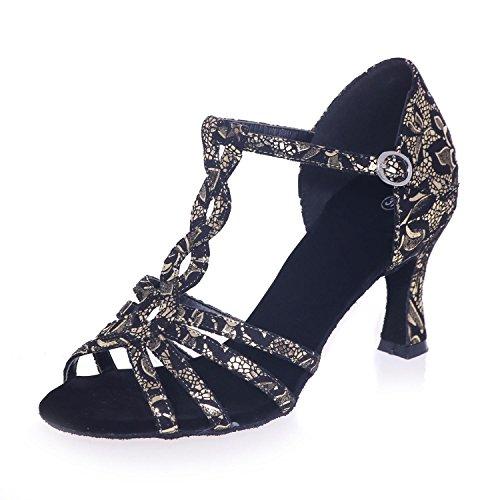 Satin L Marron argent Danse Noir PersonnaliséE Taille Chaussures Latine avec Fine silver Femmes YC 5cm Taille De Pour 7 Grande Or6Owq
