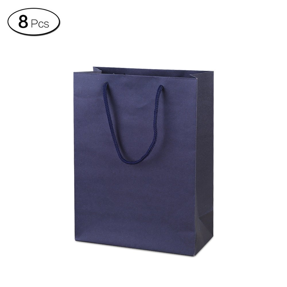 Jia Hu 8Pcs Shopping Paper Gift Bags with Handles Colors Storage Bag for Cloth Travel Dark Blue