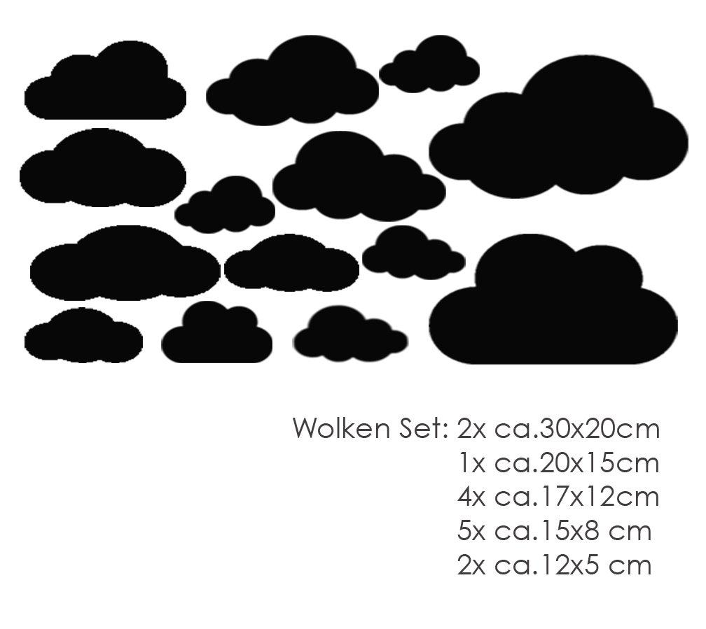 MacDecal.de Wolken Set 16x Wolke Wandtattoo Wandaufkleber Sticker Aufkleber Wand Himmel Baby Wolkenset 16 Teilig, Fuchsia