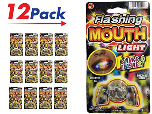 Light Up Mouthpiece - Flashing Mouth Piece (Pack of 12)