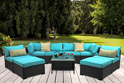 Outdoor PE Wicker Rattan Sofa – 9 Piece Patio Garden Sectional with Turquoise Cushion Furn ...