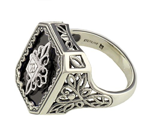 Art Deco Style Filigree Black Onyx and Diamond Ring in Sterling Silver (sz 7) by Jansjewells (Image #2)