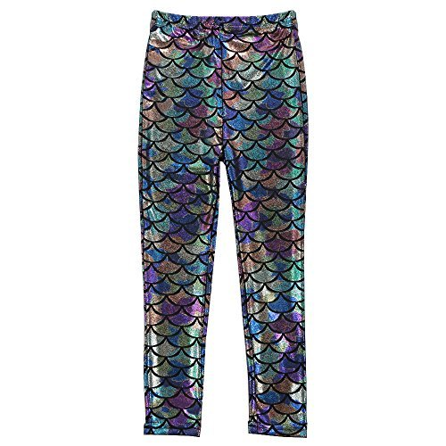 TFJH E Shiny Fish Scale Stretch Leggings Pants for Little Girls 3-11Y