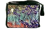 Rikki Knight Van Gogh Irises Design Messenger Bag - Shoulder Bag - School Bag for School or Work
