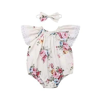 Wang-RX Ropa Infantil de Las niñas del bebé Flor del ...