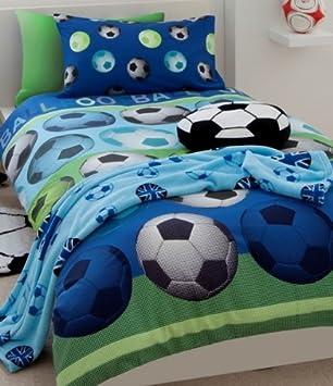 Football Blau Fussball Kinder Bettwäsche Bettbezug 135x200 Cm