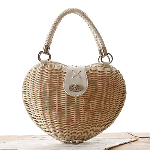 Woven Bag Shaped Summer Bag Rattan Handbag Heart Cute Beige Beach Straw FAIRYSAN xvZq7wYU1y
