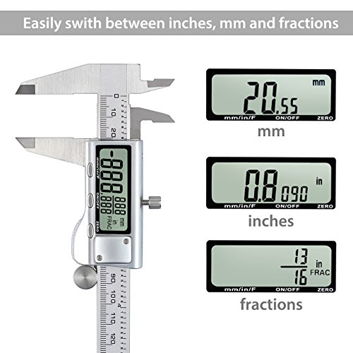 Neoteck 200mm/8 inch Digital Vernier Caliper Stainless Steel Electronic Caliper Fractions/inch/Metric Conversion Measuring Tool for Length Width Depth Inner Diameter Outer Diameter by Neoteck (Image #2)