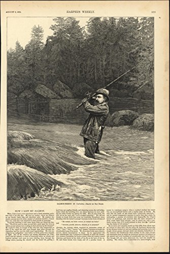Salmon Fishing in Canada 1885 antique wood engraved print