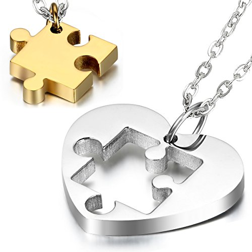 Cupimatch Couples Necklace 2 Pieces Stainless Steel Love Heart Puzzle Matching Pendant, Chain Included (Gold)