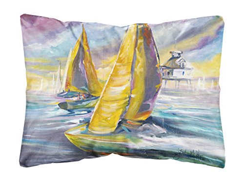 - Caroline's Treasures Sailboat with Middle Bay Lighthouse Canvas Fabric Decorative Pillow, Large, Multicolor