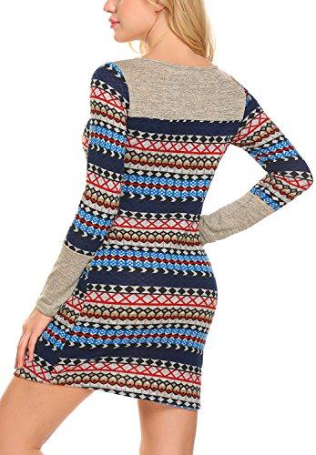Femmes Bluetime Rayé Pull-over Robe Moulante À Manches Longues En Tricot Mini Bleu Marine Robe Pull