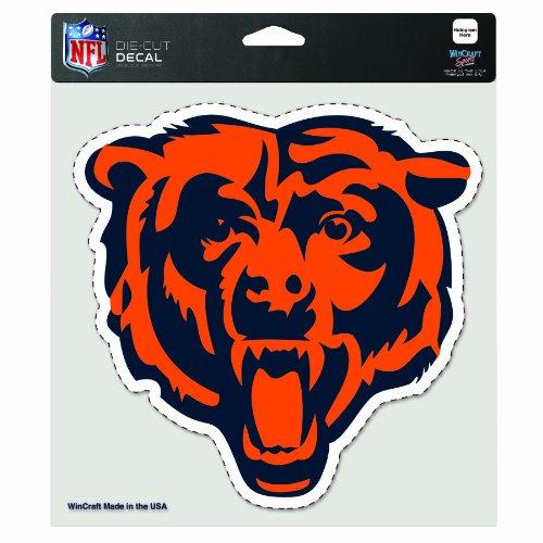 Wincraft Plastic Clock - NFL Chicago Bears Diecut Colored Decal Bear Logo