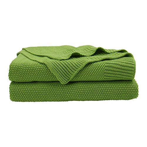 PICCOCASA 100% Cotton Knit Throw Blanket,Solid Lightweight Decorative Sofa  Throws,Soft Grass Green Knitted Throw Blanket for Sofa Couch,50\